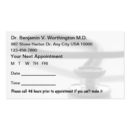 doctor appointment card template - Intoanysearch - appointment cards free templates