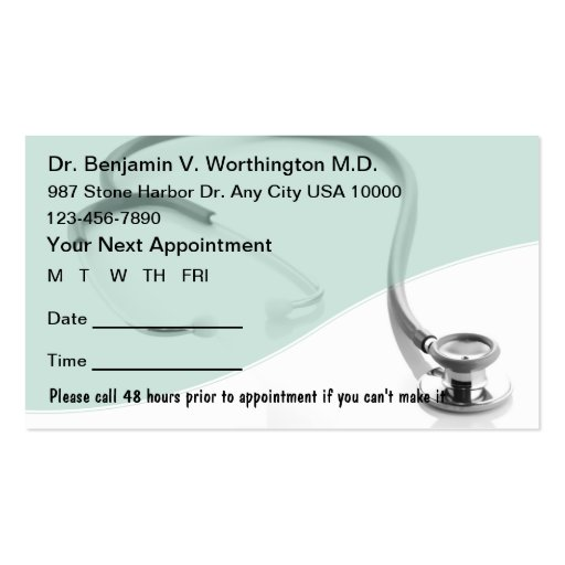 appointment reminder card template - sample appointment card template