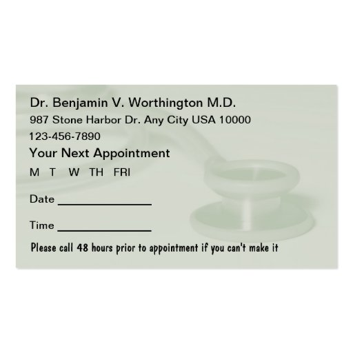 appointment reminder card template - appointment cards free templates