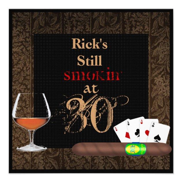 Mens 30th Birthday Cigarspoker Brandy Invitations