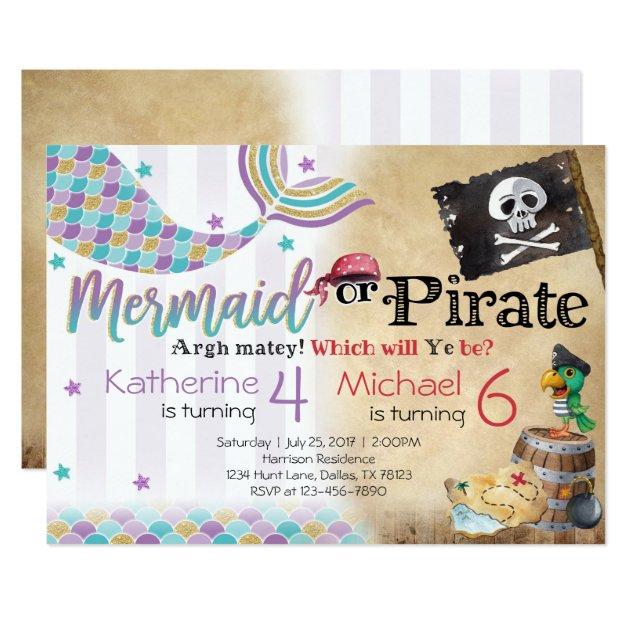 Mermaid Pirate Birthday Party Invitation Siblings Zazzlecom
