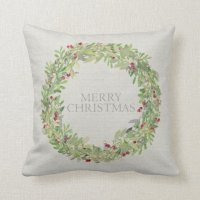 Merry Christmas Wreath gray burlap Throw Pillow | Zazzle