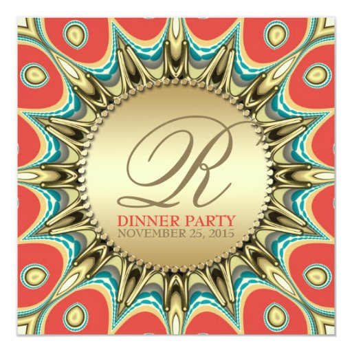 Metallic Sunflower Golden Dinner Party Invitations