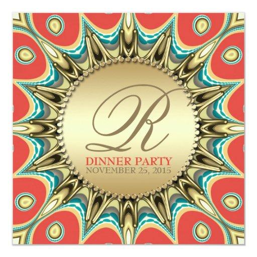 Metallic Sunflower Golden Dinner Party Invitations