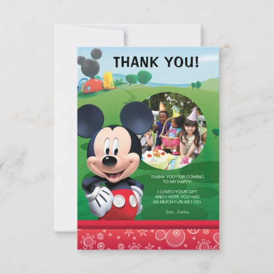 Mickey Mouse Birthday Thank You Cards Zazzle
