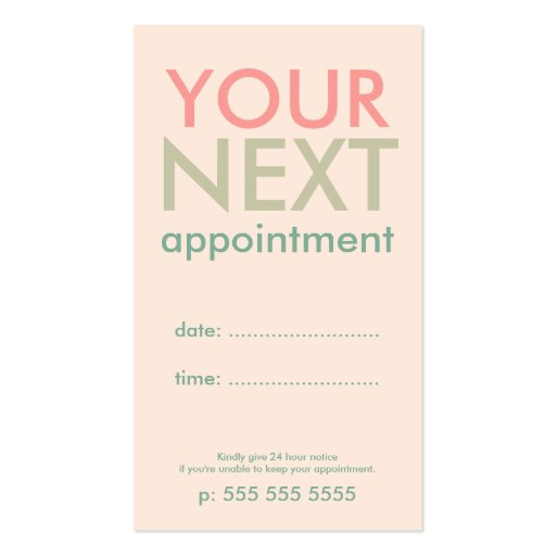 Minimal Basic Appointment Card in Pink Olive Green Business Card