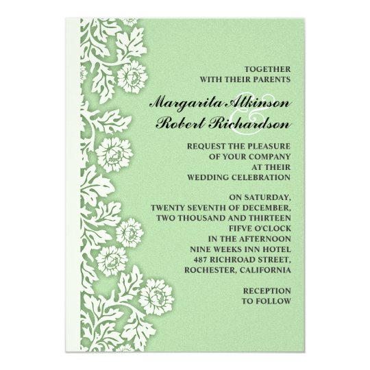 Mint Green Flourishes Pretty Wedding Invitations Zazzlecom