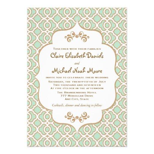 Mint Green Gold Moroccan Wedding Invitations Zazzle