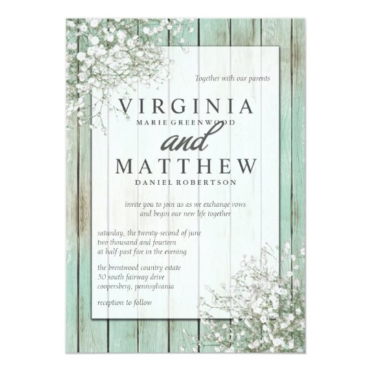 Mint Green Rustic Baby39s Breath Wedding Invitation