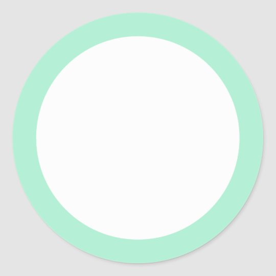 Mint green solid color border blank classic round sticker Zazzle - solid green border