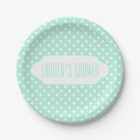 Mint green white polka dot paper plate | Zazzle