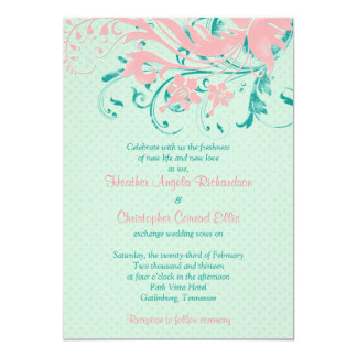 Mint And Pink Wedding Invitations Announcements Zazzle