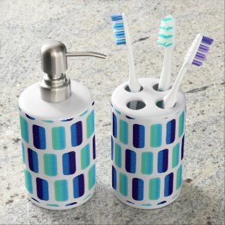 Modern blue teal watercolor strokes pattern soap dispensers