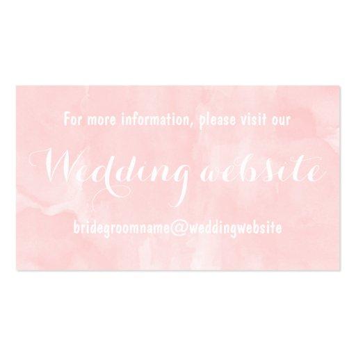 Modern blush pink watercolor wedding website business card