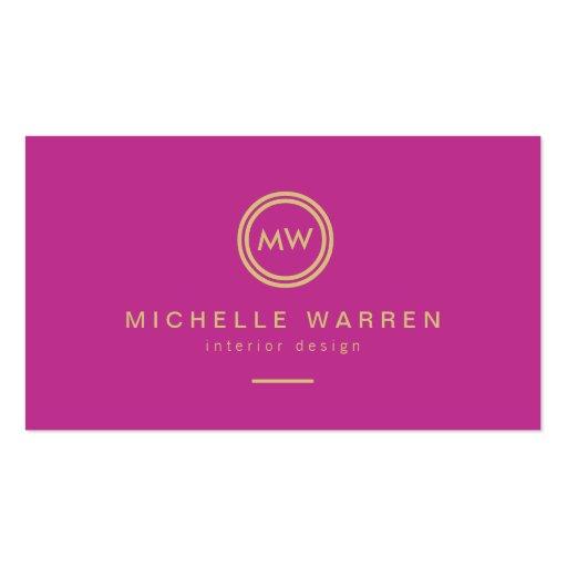 Modern Circle Monogram Initials on Fuchsia Pink Business Card