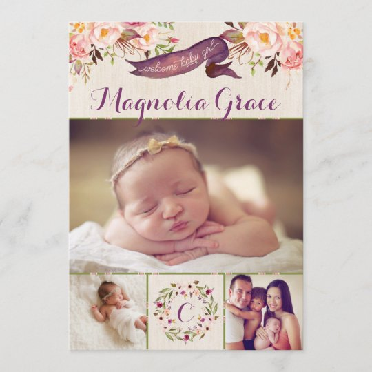 Modern Floral Baby Girl Birth Announcement Cards Zazzle