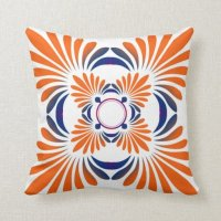 Modern Floral Throw Pillows:Blue Orange | Zazzle