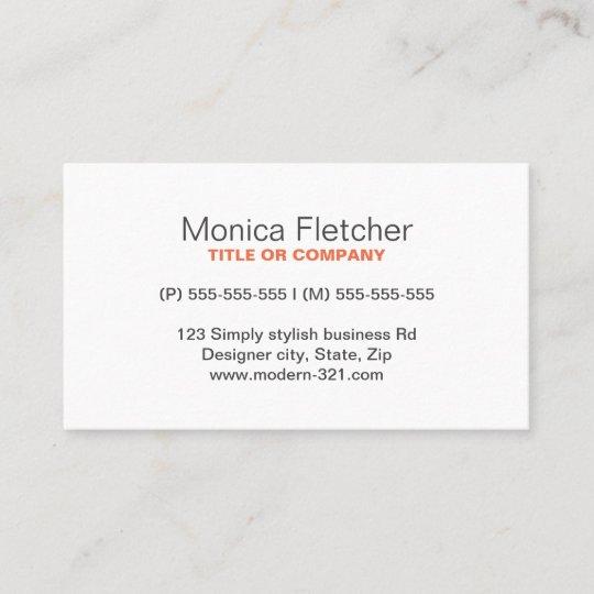 Modern generic simple elegant personal business card Zazzle
