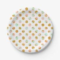 Modern Girly Pink Teal Gold Glitter Polka Dots 7 Inch ...