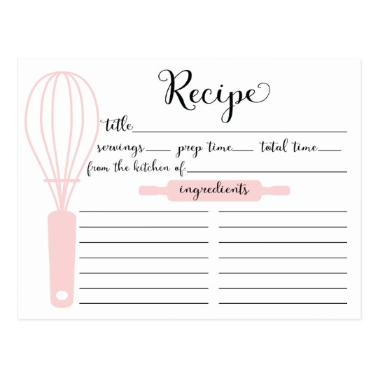 Modern Hand Lettered Pink Whisk Recipe Card Zazzle