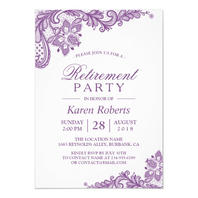 Personalized Purple retirement party Invitations - retirement party card