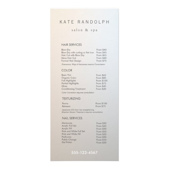 Modern Minimalist Salon Price List Service Menu Zazzle