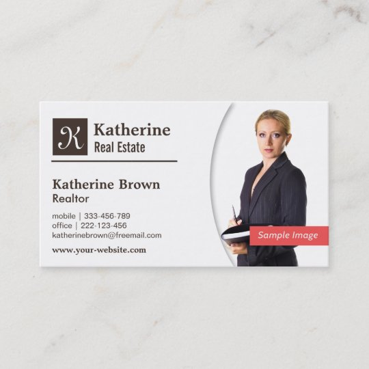 Modern, Monogram, Realtor, Real Estate, Photo Business Card Zazzle