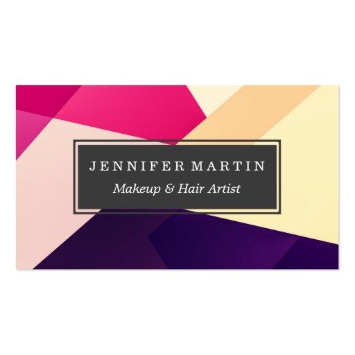 Modern Pink Yellow Black Geometric Pattern Business Card
