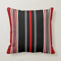 Modern Stripe Pillow-Red,White,Black,Gray,Blue Throw ...