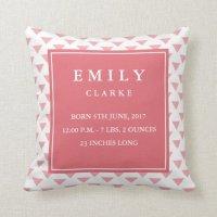 Modern Triangle Baby Birth Announcement Pillow   Zazzle