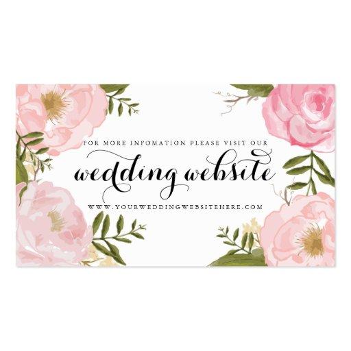 Modern Vintage Pink Floral Wedding Website Card Business Card
