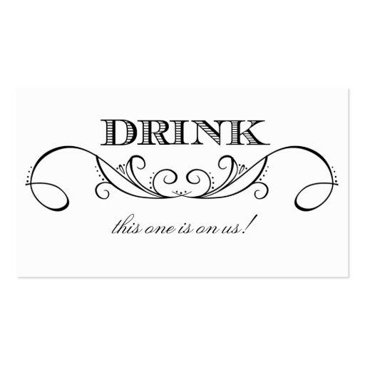 Wedding drink ticket Business Card Templates BizCardStudio