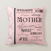 Modern Word Cloud Mother Text Sayings - Pink Black Pillow ...