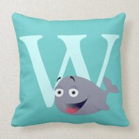 Monogram initial letter W cute whale custom Throw Pillow ...