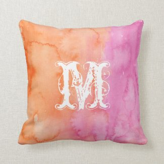 Monogram Pink Orange Initial Watercolor Pillow