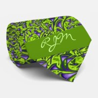 Monogrammed Green and Purple Paisley Tie | Zazzle