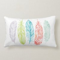 Multicolor Watercolor Feather Tribal Print Pillow | Zazzle
