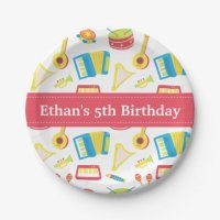 Music Instruments Pattern Kids Birthday Party Paper Plate ...