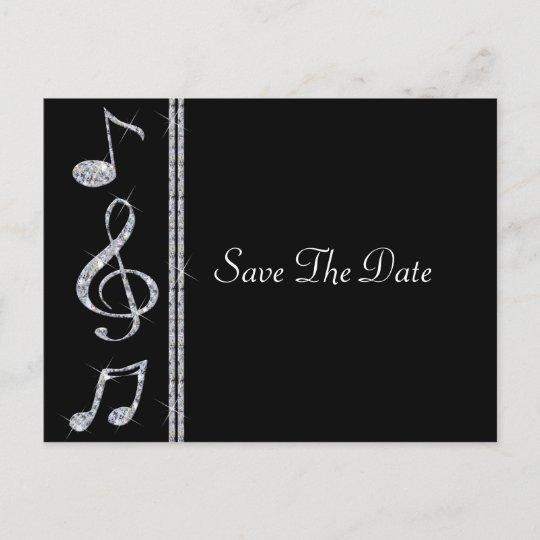 Music Lovers Diamond Shimmer On Black Wedding Announcement Postcard