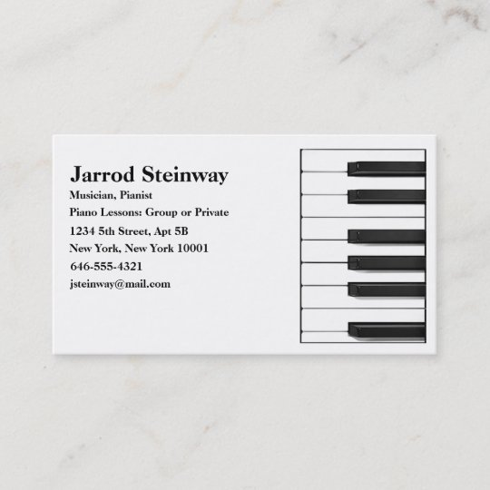 Musician/Pianist Business Card Zazzle