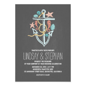 Nautical beach wedding invitations - chalkboard