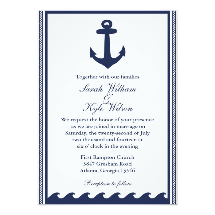 Nautical Navy Blue And White Wedding Invitations Zazzle