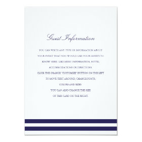 Nautical Navy Wedding Insert 4.5x6.25 Paper Invitation Card