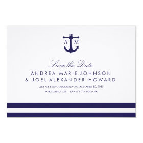 Nautical Navy Wedding Save the Date 5x7 Paper Invitation Card