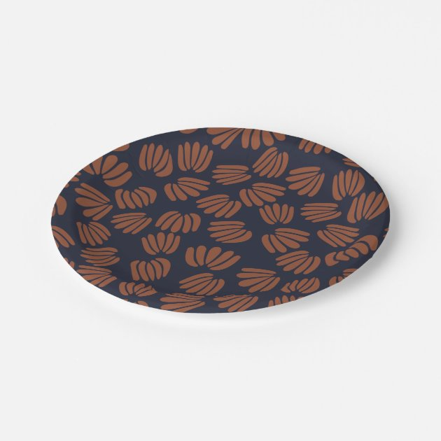 Navy And Rust Abstract Floral Paper Plate Zazzlecom