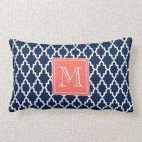 Navy Blue Moroccan Coral Monogram Throw Pillows | Zazzle