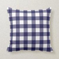Navy Blue Preppy Buffalo Check Plaid Pillows
