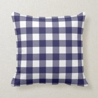 Navy Blue Preppy Buffalo Check Plaid Pillows | Zazzle