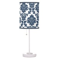 Navy Blue - White Damask Lamp Shade | Zazzle