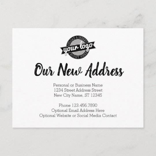 New Address Change with Business Logo Announcement Postcard Zazzle
